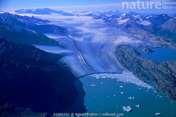 Aerial view of glacier near Lago Argentino, Argentina, AERIAL,AMERICA,ARGENTINO,FILMING,FULTON,GEOLOGY,GLACIAL FEATURES,GLACIER,GLACIERS,HORIZONTAL,ICE,LAGO,LANDSCAPES,MELTING,MOUNTAINS,NEAR,RFU,ROBERT,SNOW,SOUTH,SOUTH AMERICA,VIEW,WATER ,AERIALS,Climate change,SOUTH-AMERICA, Robert Fulton