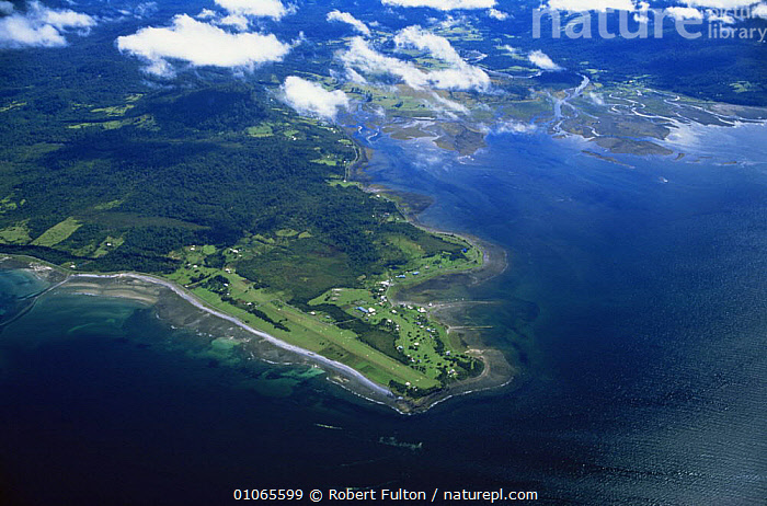 Aerial view of Peninsula Valdez, Argentina, South America 2000, AERIALS,CLOUDS,COASTAL WATERS,COASTS,LANDSCAPES,MARINE,PENINSULA,SEA,SOUTH AMERICA,WATER,Weather,SOUTH-AMERICA, Robert Fulton