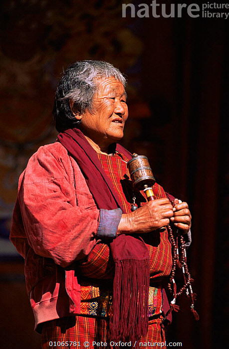 Buddhist woman with prayer wheel, Gantey Gompa, Phobjika valley, Bhutan.2001, ASIA,buddhism,PEOPLE,TRADITIONAL,VERTICAL,INDIAN-SUBCONTINENT, Pete Oxford