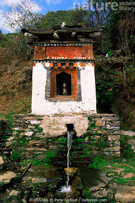 Hydro prayer wheel, between Tongsa and Chendebji, Bhutan.2001, ASIA,BUILDINGS,Religion,RIVERS,stream,TRADITIONAL,VERTICAL,WATER,INDIAN-SUBCONTINENT, Pete Oxford