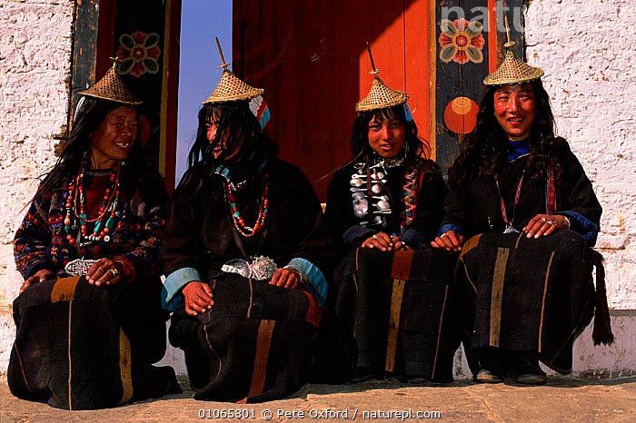 Laya women from West Bhutan., HORIZONTAL,COSTUMES,WOMEN,PEOPLE,OXFORD,TRADITIONAL,HATS,PETER,PO,FEMALES,LAYA,FOUR,VILLAGES,INDIAN-SUBCONTINENT,Asia, Pete Oxford