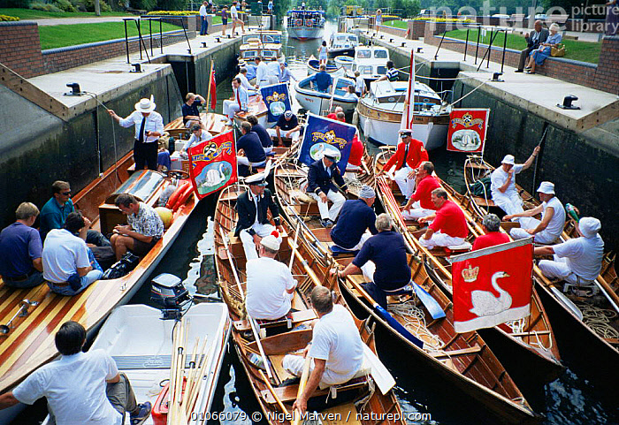 "Boats pass throuch lock before traditional ""Swan Upping"" on River Thames, Henley, Oxfordshire, UK, ENGLAND,EUROPE,GROUPS,HORIZONTAL,HUMOROUS,PEOPLE,SWANS,UK,United Kingdom,Concepts,British, United Kingdom, United Kingdom, NIGEL MARVEN"