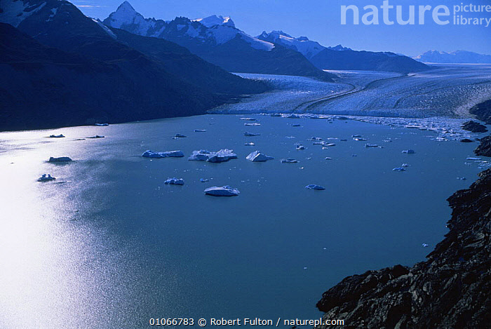 Aerial view of glacier near Lago, Argentina, South America 2000  ,  AERIALS,ANDES,COASTAL WATERS,COASTS,FROZEN,GLACIAL FEATURES,GLACIERS,ICE,LAKES,LANDSCAPES,MOUNTAINS,SNOW,SOUTH AMERICA,WATER,Geology,SOUTH-AMERICA  ,  Robert Fulton