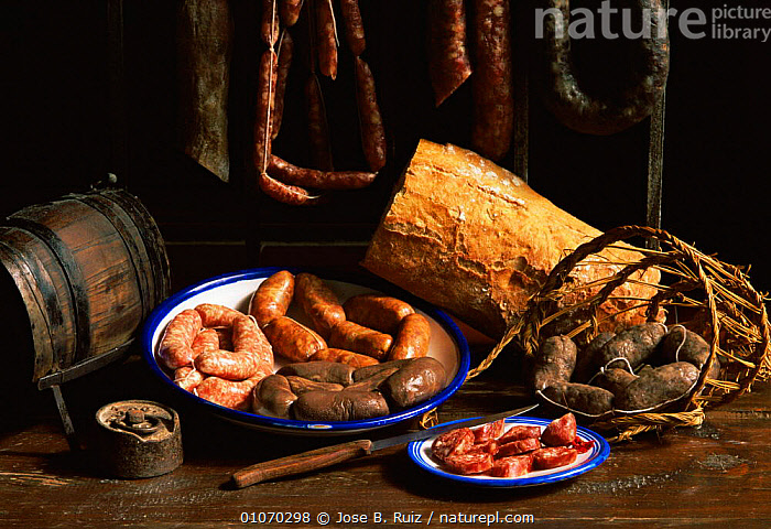 Assortment of traditional pork sausages made from local meat, Alicante, Spain  ,  EUROPE,food,SPAIN  ,  Jose B. Ruiz