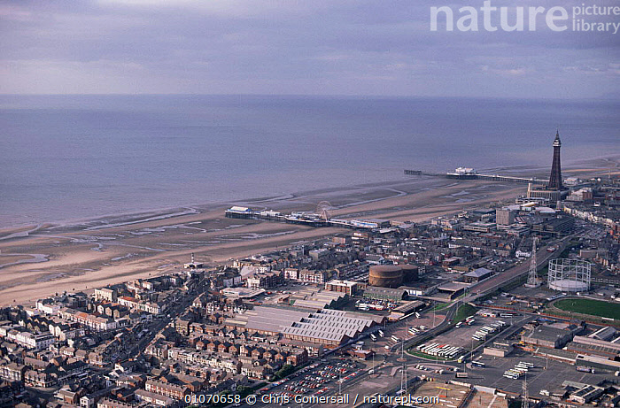 Aerial view of Blackpool beach and seafront at low tide, Lancashire, UK  ,  BEACHES,BUILDINGS,CITIES,ENGLAND,EUROPE,LANDSCAPES,TOWER,UK,United Kingdom,British  ,  Chris Gomersall