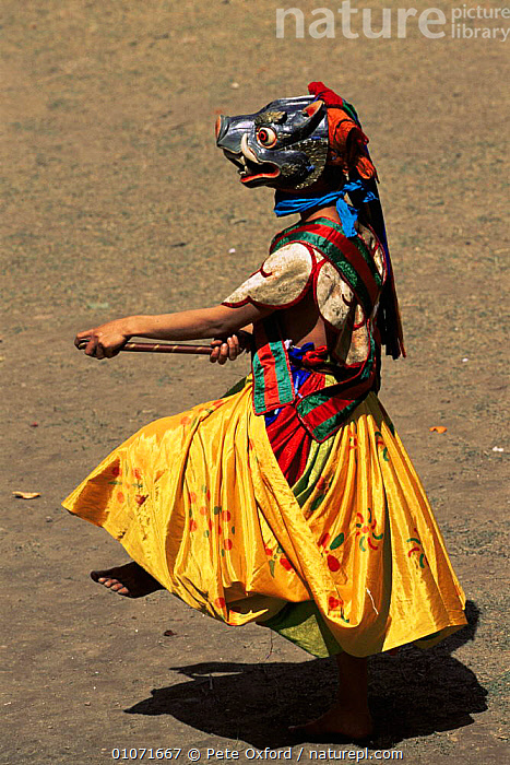 Dance of the Three Kings of Ging, Gom Kora Festival, Bhutan 2001  ,  ASIA,DANCING,PEOPLE,TRADITIONAL,VERTICAL,WOMAN,INDIAN-SUBCONTINENT  ,  Pete Oxford