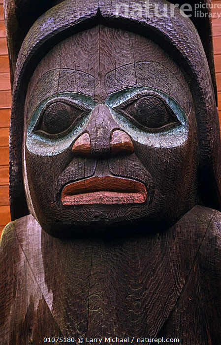 Indian totem pole Thingket, Alaska, USA  ,  FACES,NORTH AMERICA,USA,VERTICAL  ,  Larry Michael