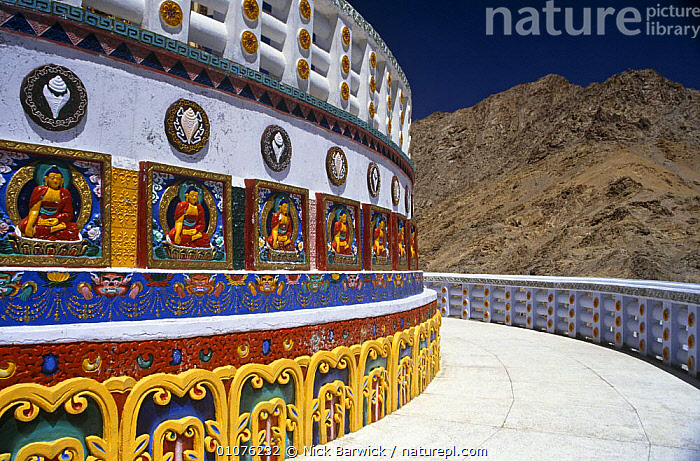Shanti stupa, a Buddhist Peace Pagoda in Leh, with the Kangri Mountain range in the background. Ladakh, North India  ,  ART,ARTIFACTS,ASIA,BUDDHISM,BUILDINGS,COLOURFUL,HORIZONTAL,INDIAN SUBCONTINENT,LANDSCAPES,MOUNTAINS,INDIAN-SUBCONTINENT  ,  Nick Barwick