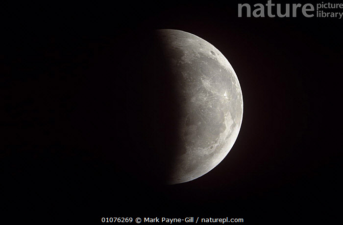 Partial eclipse of the Moon 9 January 2001. Worcestershire, UK  ,  MOON,NIGHT,PLANETS,UK,Europe,United Kingdom,British  ,  Mark Payne-Gill