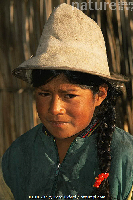 Aymara indian girl, Lake Titicaca, Peru, CHILDREN,CULTURES,FEMALES,GIRL,PEOPLE,PORTRAITS,SOUTH AMERICA,TRIBES,VERTICAL,YOUNG,SOUTH-AMERICA, Pete Oxford