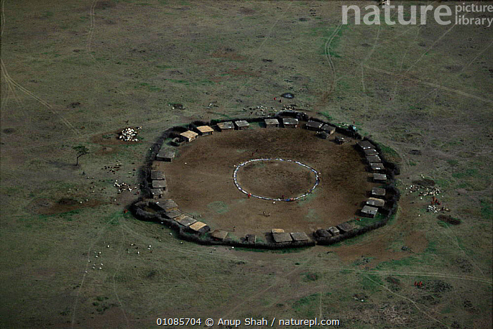 Aerial of manyatta - Maasai people settlement just outside of Masai Mara, Kenya, East Africa  ,  AERIAL,AFRICA,AS,BUILDINGS,CIRCLE,CIRCULAR,EAST AFRICA,GRASSLAND,HORIZONTAL,HUTS,LANDSCAPES,MAASAI,MANYATTA,PEOPLE,PLANTS,SAVANNA,SETTLEMENT,SHAH,TREES,VILLAGES ,AERIALS,EAST-AFRICA  ,  Anup Shah