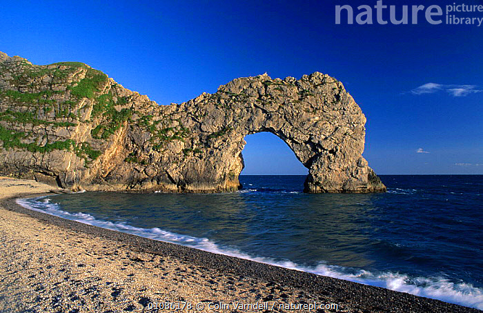 Durdle door, Lulworth Cove Dorset, England  ,  ARCH,BEACHES,COASTS,EROSION,EUROPE,LANDSCAPES,ROCK FORMATIONS,SEA,SHINGLE,UK,United Kingdom,Geology,British,ENGLAND,,Dorset and East Devon Coast, UNESCO World Heritage Site,  ,  Colin Varndell