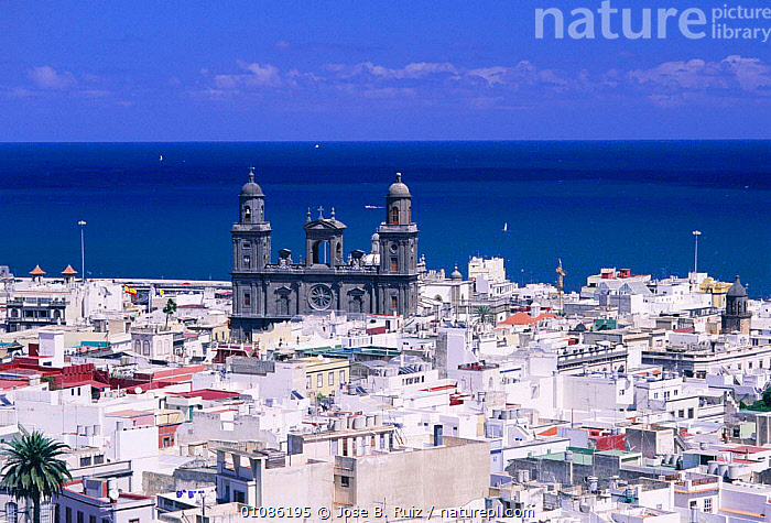 Palmas city with cathedral Gran Canaria, Canary Islands, Spain  ,  ATLANTIC,BUILDINGS,CATHEDRAL,CHURCH,CITIES,CITY,COASTS,EUROPE,HORIZONTAL,LANDSCAPES,ROOVES,RUIZ,SEA ,CHURCHES,SPAIN  ,  Jose B. Ruiz