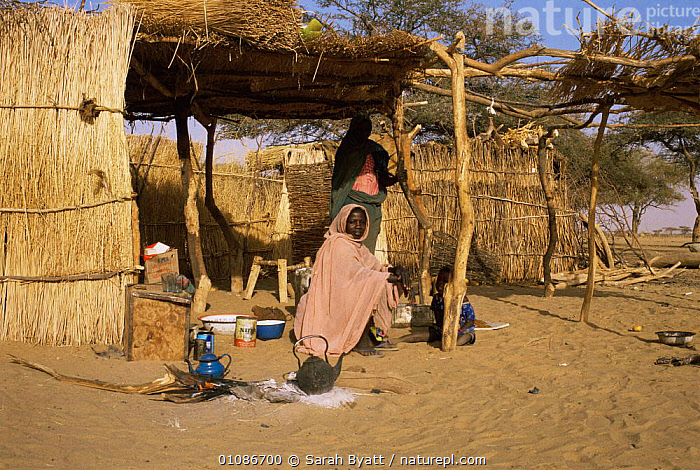Two Sudanese women beside homes, Darfur Province, West Sudan Democratic Republic, 1986  ,  AFRICA,CULTURES,FEMALES,HOMES,HOUSES,NORTH AFRICA,PEOPLE,TRADITIONAL,TRIBES,WOMEN  ,  Sarah Byatt