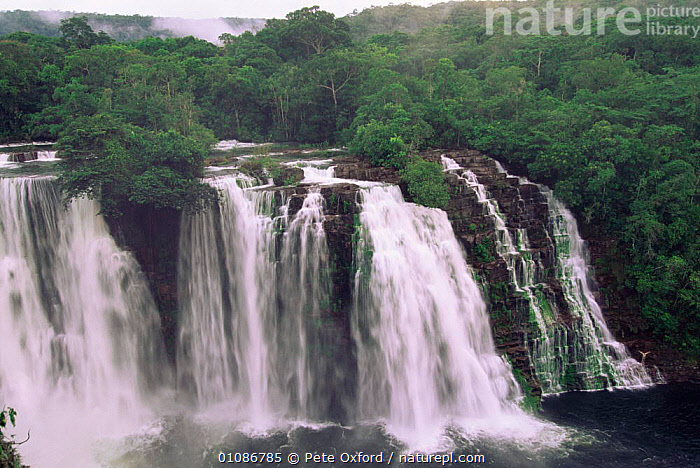 Ahfeld waterfall & diver, Noel Kempff Maercado National Park Bolivia  ,  HORIZONTAL,LANDSCAPES,LOWLAND,PEOPLE,PETER,RAINFOREST,RIVERS,TROPICAL RAINFOREST,WATER,WATERFALLS,SOUTH-AMERICA  ,  Pete Oxford