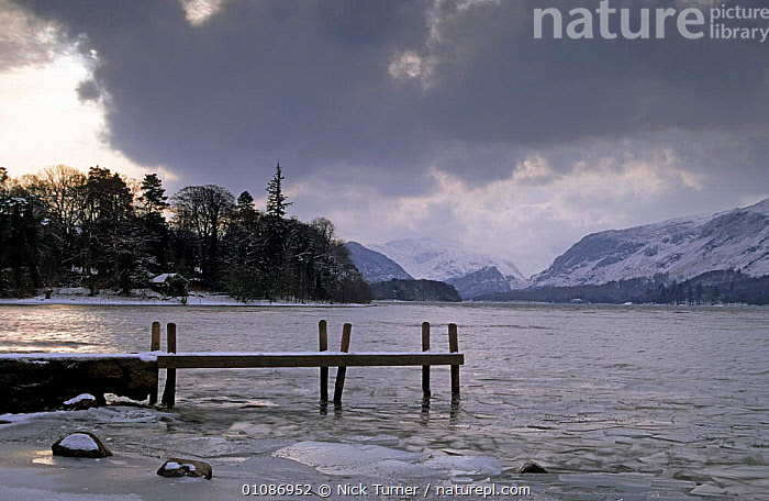 Derwent water, Lake District National Park in winter Cumbria, England  ,  COLD,EUROPE,HIGHLANDS,ICE,LAKES,LANDSCAPES,NP,PIER,RESERVE,SNOW,UK,United Kingdom,British,National Park,ENGLAND, United Kingdom, United Kingdom, United Kingdom,GettyBOV  ,  Nick Turner