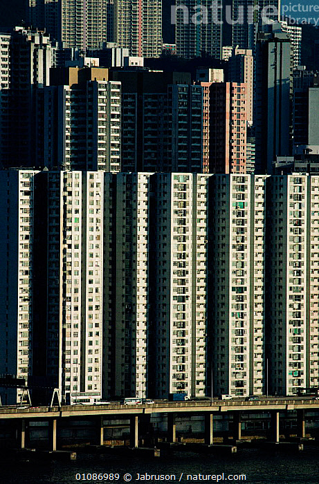 High rise flats, Kowloon, Hong Kong, China  ,  ARTY SHOTS,ASIA,BDA,BRIDGE,BRUCE,BUILDINGS,CITIES,CROWDING,FLATS,HIGH,KOWLOON,MODERN,POPULATION,RISE,SKYSCRAPERS,TRAFFIC,VERTICAL , Bruce Davidson  ,  Jabruson