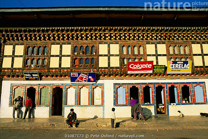 Paro village street with shops, Paro valley, Bhutan 2001  ,  ASIA,BUILDINGS,LANDSCAPES,PEOPLE,SIGNS,TRADE,INDIAN-SUBCONTINENT  ,  Pete Oxford