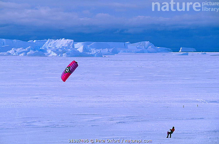 Person with power kite on snow, Australian Antarctic Territory, Antarctica  ,  ACTION,ANTARCTICA,COLD,HOLIDAYS,HORIZONTAL,ICE,LANDSCAPES,LEISURE,PEOPLE,POLAR,SNOW,TOURISM,Concepts  ,  Pete Oxford