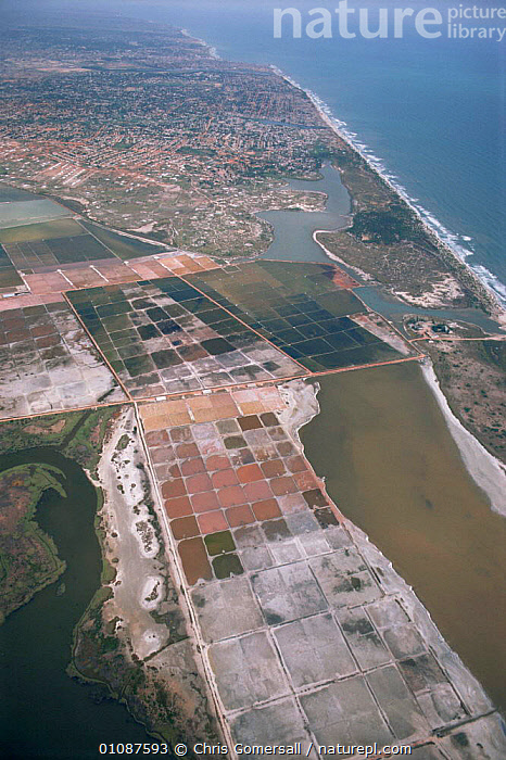 Aerial view of Panbros saltpans near Accra and coastline, Ghana, West Africa  ,  AERIALS,AFRICA,ATLANTIC OCEAN,CITIES,COASTAL WATERS,COASTLINE,COASTS,INDUSTRY,LANDSCAPES,MINERALS,TRADE,VERTICAL,WEST AFRICA,Marine,WEST-AFRICA  ,  Chris Gomersall