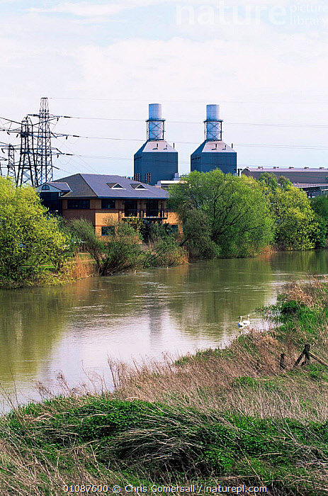 Gas fired power station by River Ouse, Little Barford, Cambridgeshire, UK  ,  BUILDINGS,ENERGY,ENGLAND,EUROPE,LANDSCAPES,RIVERS,UK,VERTICAL,United Kingdom,British  ,  Chris Gomersall