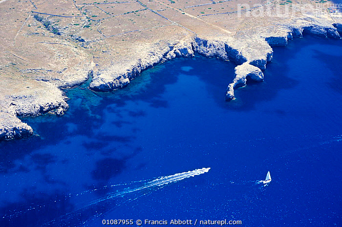 Aerial view of Pont d'en Gil, Ciudadela, west coast of Menorca, Spain  ,  AERIAL,,BOATS,CLIFFS,COAST,COASTS,EUROPE,FA,HORIZONTAL,ISLANDS,LEISURE,MEDITERRANEAN,SEA,SPAIN,GEOLOGY ,AERIALS,BALEARIC ISLANDS, SPAIN  ,  Francis Abbott