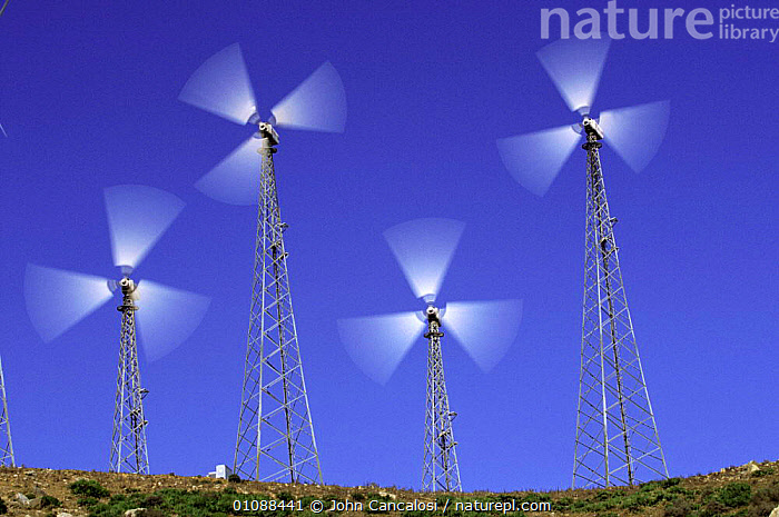 Wind generators on wind farm, Spain, ELECTRICITY,EUROPE,FOUR,GENERATORS,HORIZONTAL,JCA,SPAIN,WEATHER,WINDMILL ,TURBINE,TURBINES,WIND TURBINES, John Cancalosi