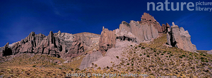 Eroded rock pinnacles, over 5200 m altitude, Altiplano, South West Bolivia, AMERICA,CLIFFS,HIGH ALTITUDE,HIGHLANDS,LANDSCAPES,PANORAMIC,ROCK FORMATIONS,ROCKS,Geology,SOUTH-AMERICA, Pete Oxford