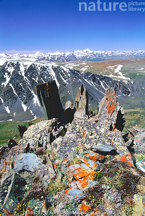 Altai mountains view towards Kazakhstan from China / Russia border, ASIA,CHINA,,KM,LANDSCAPE,LANDSCAPES,MOUNTAINS,SCENIC,SNOW,SUMMER,VERTICAL, Konstantin Mikhailov