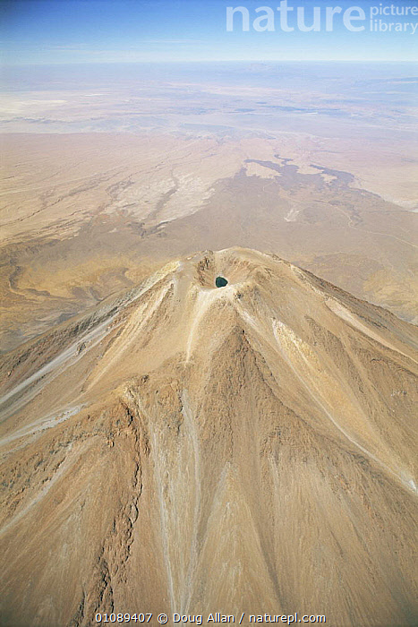 Aerial view of exinct Licancabur volcano, Bolivia, AERIALS,CONE,CRATER,CRATERS,DORMANT,EXTINCT,LANDSCAPES,SOUTH AMERICA,SUMMIT,VERTICAL,VOLCANIC,VOLCANOES,Geology,SOUTH-AMERICA, Doug Allan