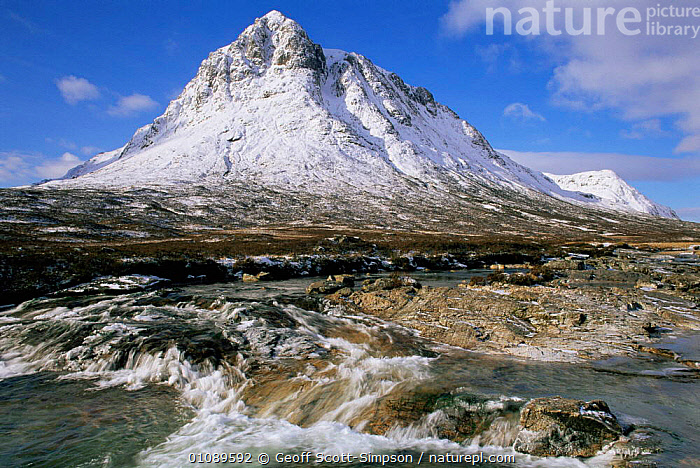 Buachaille Etive Mor in snow, Glencoe, Scotland, UK, EUROPE,HIGHLANDS,LANDSCAPES,MOUNTAINS,RIVERS,SCOTLAND,SNOW,streams,UK,WATER,WINTER,United Kingdom,British, Geoff Scott-Simpson