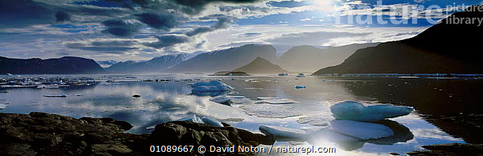 Alexandra Fjord panoramic landscape, Ellesmere Island, Canada, North America, ARCTIC,ATMOSPHERIC,CLOUDS,COASTS,CONCEPTS,DNO,FJORD,FJORDS,HORIZONTAL,ICE,LANDSCAPE,LANDSCAPES,NORTH AMERICA,PANORAMIC,PEACEFUL,REFLECTIONS,SCENIC,SEA,WATER,WEATHER, David Noton