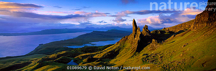 The Old Man of Storr in dramatic light, Trotternish Isle of Skye, Scotland, ATMOSTPHERIC,BRITISH,CLOUDS,COASTAL WATERS,COASTS,CONCEPTS,D,DNO,DRAMATIC,EUROPE,EVENING,HORIZONTAL,LANDSCAPE,LANDSCAPES,LIGHT,MAN,MOUNTAINS,OUTSTANDING,PANORAMIC,PEACEFUL,ROCKS,SCENIC,SEA,SKY,SKYE,UK,UNITED KINGDOM,WEATHER,PEOPLE , United Kingdom, United Kingdom, United Kingdom, David Noton