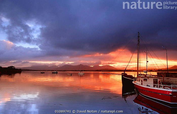 Dawn at Roundstone harbour, Connemara, Ireland, BOATS,COASTAL WATERS,COASTS,DAWN,EIRE,EUROPE,HARBOURS,HARBOURSIDE,IRELAND,LANDSCAPES,PEACEFUL,REFLECTIONS,SUNRISE,Concepts, David Noton