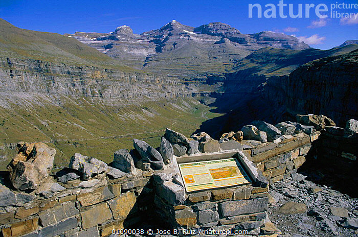 Visitor information point - Las Fajas mts, Ordesa valley, Pyrenees, Huesca, Spain, GEOLOGY,HORIZONTAL,HUESCA,INFORMATION,JRU,LANDSCAPES,MOUNTAINS,ORDESA,PYRENEES,RESERVE,ROCK FORMATIONS,SIGNS,STRIATIONS,TOURISM,TRAVEL,VALLEY,VISITOR,Europe, Jose B. Ruiz
