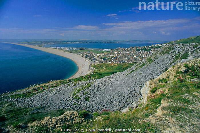 Portland point, view west towards Chesil beach Dorset, UK, BEACHES,BRITISH,COASTS,CVA,EUROPE,HORIZONTAL,LANDSCAPE,SHINGLE,UK,UNITED KINGDOM,ENGLAND, United Kingdom, United Kingdom,,Dorset and East Devon Coast, UNESCO World Heritage Site,, Colin Varndell