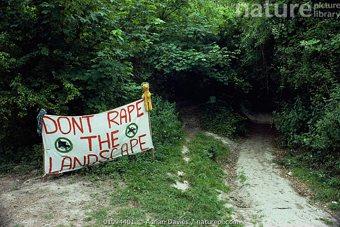 Twyford down protest banner, Winchester, Hampshire, UK 1993  ,  ENGLAND,EUROPE,PROTESTS,SIGNS,UK,WOODLANDS,United Kingdom,British  ,  Adrian Davies