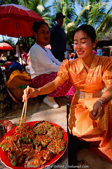 Dai woman cooking at market stall (ethnic minority group) Xishuangbanna, Yunnan, China. 2002  ,  ASIA,CHINESE,CLOTHES,COLOURFUL,COOKING,FOOD,MARKET,PEOPLE,PO,STALL,TRADE,TRADITIONAL,TRIBES,VERTICAL,WOMAN,WOMEN,CHINA  ,  Pete Oxford