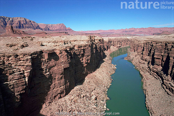 Looking down on Colorado River running through Marble Canyon, Arizona, USA  ,  canyons,EROSION,LANDSCAPES,NORTH AMERICA,RIVERS,ROCK FORMATIONS,ROCKS,sandstone,USA,WATER,Geology  ,  Mike Potts