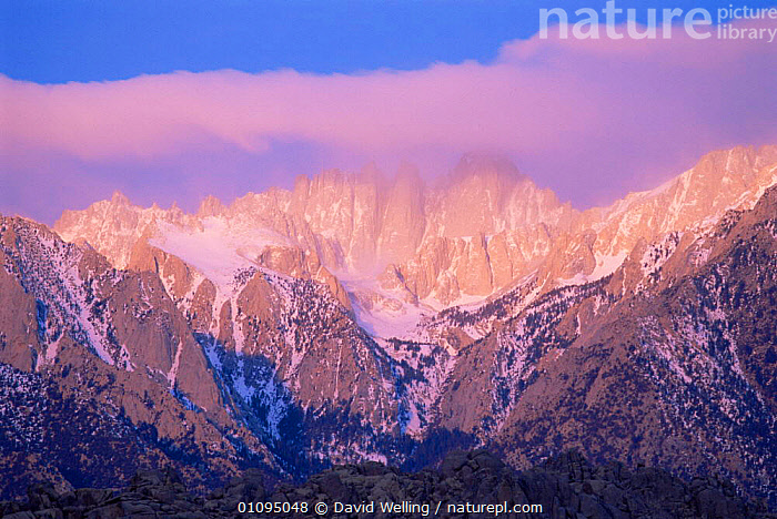 Sunrise over Mount Whitney with spring storm, Eastern Sierras, Alabama Hills California, USA  ,  ATMOSPHERIC,CLOUDS,DAWN,HIGHLANDS,LANDSCAPES,MOUNTAINS,NORTH AMERICA,SPRING,STORMS,SUNRISE,USA,WEATHER  ,  David Welling
