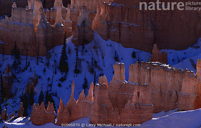 Abstract view of Bryce Canyon NP in snow, winter, Utah, USA  ,  GEOLOGY,LANDSCAPES,NORTH AMERICA,PATTERNS,RESERVE,USA  ,  Larry Michael