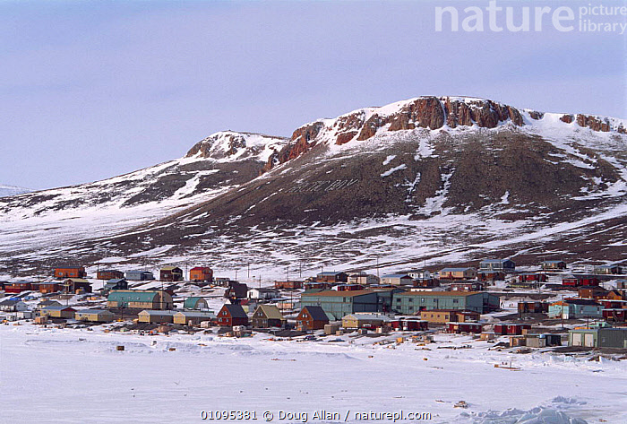 Inuit community of Arctic Bay in spring, Baffin Island, Canadian Arctic, NW Territories  ,  ARCTIC,BUILDINGS,CANADA,HOMES,HOUSES,NORTH AMERICA,PEOPLE,POLAR,SETTLEMENT,SNOW,SPRING,TRIBES  ,  Doug Allan