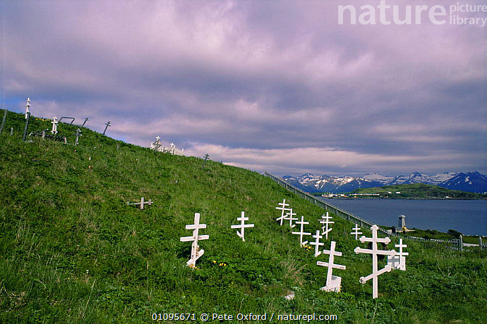 Russian Orthodox grave sites, Dutch Harbour,  Aleutian Islands, Bering Sea, Alaska, USA  ,  ARCTIC,COASTAL WATERS,COASTS,CULTURES,LANDSCAPES,MARINE,NORTH AMERICA,PEOPLE,POLAR,SEA,SETTLEMENTS,TRIBES,USA  ,  Pete Oxford