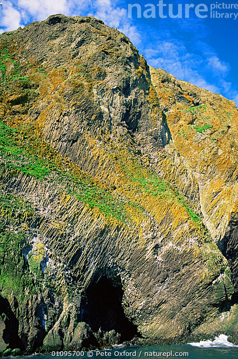 Columnar Basalt lava formation on St Matthew Island cliffs, Bering Sea, Alaska, USA  ,  CLIFFS,COASTAL WATERS,COASTS,MARINE,MINERALS,NORTH AMERICA,PATTERNS,ROCK FORMATIONS,ROCKS,USA,VERTICAL,Geology  ,  Pete Oxford
