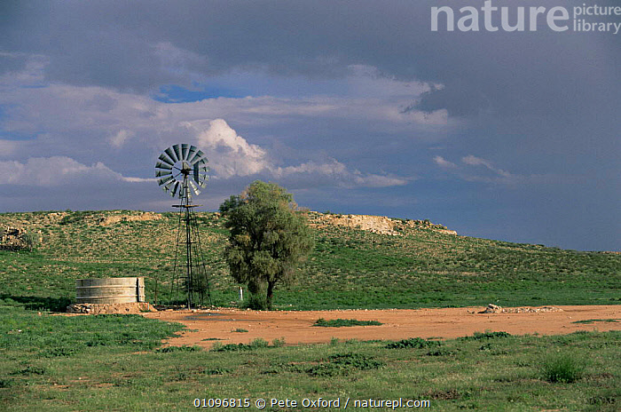 Wind driven waterhole pump, Kalahari Kgalagadi Transfrontier NP, South Africa, AFRICA,ENERGY,LANDSCAPES,RESERVE,SOUTHERN AFRICA, Pete Oxford