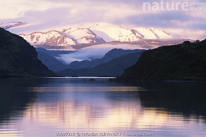 Lake Pehoe at dawn, Torres del Paine National Park, South Chile, South America, CLOUDS,DAWN,HORIZONTAL,LAKES,LANDSCAPES,MOUNTAINS,NP,PEACEFUL,RESERVE,SOUTH AMERICA,SUNRISE,WATER,Concepts,Weather,National Park,SOUTH-AMERICA, RHONDA KLEVANSKY