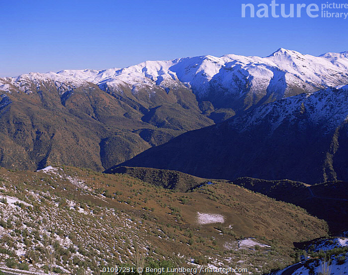 View from Farellones, 3000m, Andes, Chile, South America, June 1997, ALPINE,ALTITUDE,ANDES,HIGHLANDS,LANDSCAPES,MOUNTAINS,SNOW,SOUTH AMERICA,SOUTH-AMERICA, Bengt Lundberg