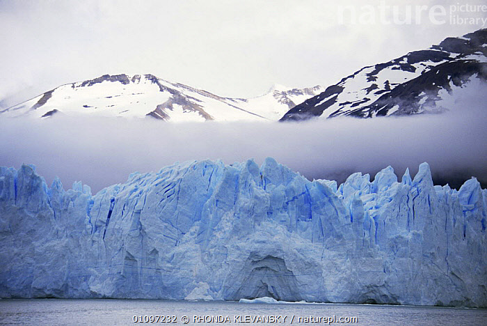Perito Moreno glacier with low cloud, near Calafate, Patagonia, Southern Argentina, CLOUDS,COASTAL WATERS,COASTS,GLACIAL FEATURES,GLACIERS,ICE,LAKES,LANDSCAPES,MOUNTAINS,SOUTH AMERICA,WATER,Weather,Geology,SOUTH-AMERICA, RHONDA KLEVANSKY