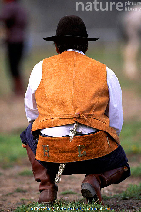 Gaucho at rodeo, rear view kneeling, Chalten, Fitzroy, Patagonia, Argentina, S America, COWBOY,MALES,MAMMALS,MAN,PEOPLE,SOUTH AMERICA,TRADITIONAL,VERTICAL,SOUTH-AMERICA, Pete Oxford