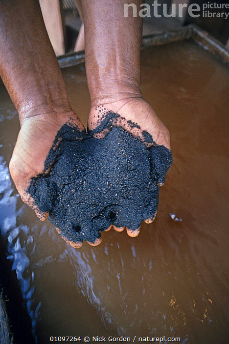 Bom Futuro open cast tin mine, raw product with sludge before separation, Rondonia State, Brazil, CRUDE,HANDS,INDUSTRY,MINERALS,MINING,PEOPLE,SOUTH AMERICA,TIN,TROPICAL RAINFOREST,VERTICAL,SOUTH-AMERICA, Nick Gordon